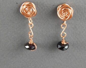 Earrings, Copper Rose Earrings, Copper Rose and Garnet Dangle Earrings, Copper and Garnet Earrings, Handmade Earrings, Rose Earrings