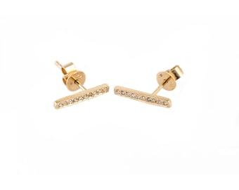 14K Gold Diamond Bar Earrings/Anniversary Gift/Birthday Gift/Bridesmaids Gift/Mother's Day Gift
