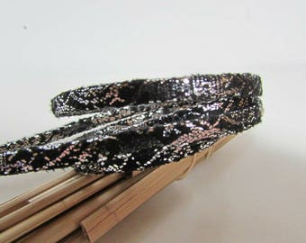 60 cm Strip 5 x 2 mm silver polyurethane black, Burgundy, black