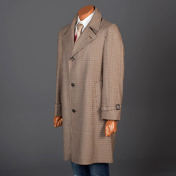 Creme Mens Overcoat and Vintage 70s Brown 42 Black Lapel by Rainfair Micro Wide Houndstooth wXan1H