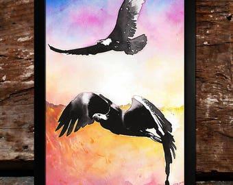 The Eagles | Giclée | Illustration | Artprint | Birds | Colorful | LotR | Tolkien | Sunrise | Hope | Wings | Help | Beautiful Creatures