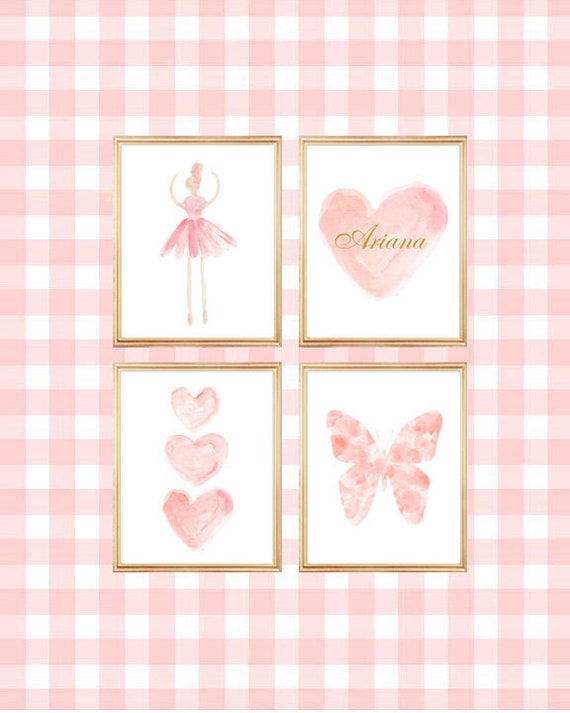 Blush Gallery Wall, Set of 4-8x10, Butterfly, Heart and Ballerina Watercolor Prints