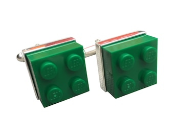 Cufflinks made using Green Lego Brick with Free Cuff Link Box and Free Shipping