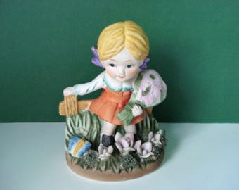 SALE - Vintage Girl With Flowers and Butterfly Figurine
