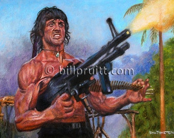 Sylvester Stallone Rambo 2 art print 12x16 signed and dated Bill Pruitt