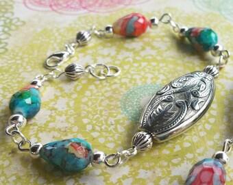 Bead Bracelet / Silver Bracelet / Bohemian Bracelet / Silver Bead Bracelet / Southwestern Bracelet