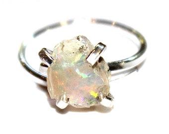 Small Opal Ring Welo Opal Jewelry Raw Opal Ring Delicate Ring Rustic Jewelry Raw Stone Ring Modern Ring Ethiopian Opal Ring FizzCandy