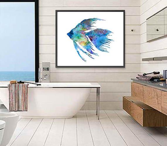 Blue Fish Print Bathroom Decor Bathroom Wall Art Fish Art