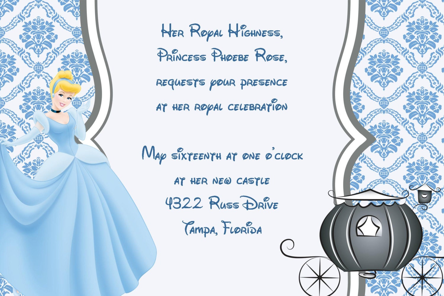 Girls cinderella princess printable birthday party invitation zoom bookmarktalkfo Gallery