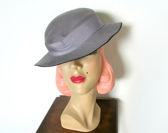 Vintage 1930's Blue Gray Slouch Hat~