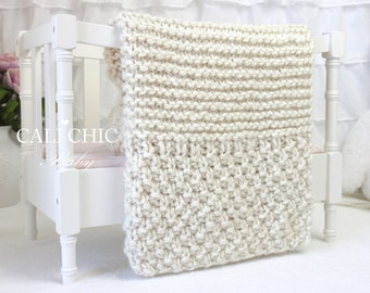 Beginner Knitting PATTERN 102 - Buttercream - Baby Afghan Pattern - EASY Beginner Knit Baby Blanket
