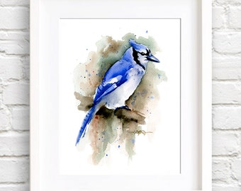 Blue Jay Art Print - Watercolor Painting - Signed by Artist DJ Rogers - Wildlife - Wall Decor