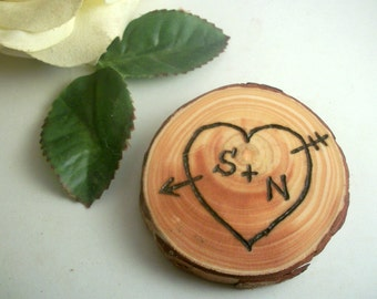 Personalized Wood Magnet or Ornament Rustic Red Pine  Wood burned Heart- 2 1/4 Inch for your Valentine, Wedding Gift, 5th Year Anniversary