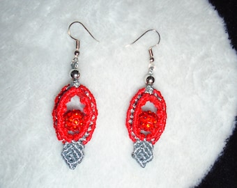 Red & Silver Macrame Earring
