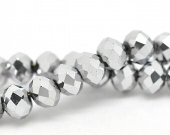 100 beads faceted glass crystal silver 6 mm