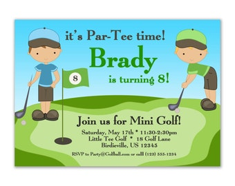 Golf Invitation - Handsom Little Blue and Lime Green Boy Golfers Personalized Birthday Party Invite - a Digital Printable File
