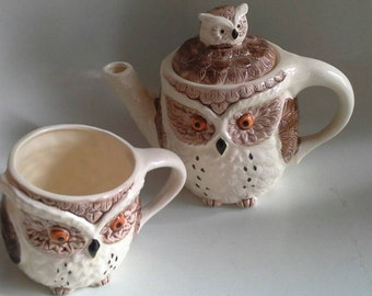 Owl Teapot and Matching Cup Made in Japan
