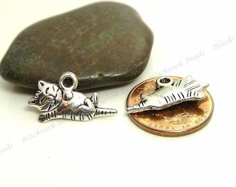 Bulk 30 Cat Charms - Antique Silver Tone Metal - 18x13mm, Cat Pendants, Animal Charms - BP13