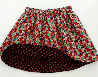 Girls Skirt, Girls Reversible Skirt, Reversible Clothing, Girls Strawberry Skirt, Girls Daisies Skirt, Strawberries, Daisies, Toddler Skirt