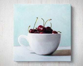 Cup of Cherries - Fruit Oil Painting Giclee Gallery Mounted Canvas Wall Art Print