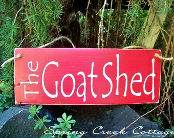 Wood Signs, The Goat Shed, Hand-painted, Goat Signs, Reclaimed, Rustic, Farmhouse Decor, Country Farm