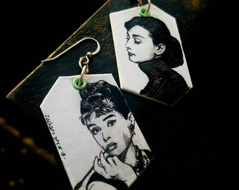 Audrey Hepburn Movie Star Icon hand-painted earrings - old hollywood
