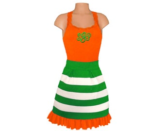 Orange + Green Stripe Scuba Skirt and Monogram Tank