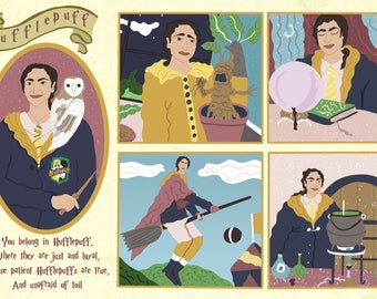 Harry potter, harry potter gift, House certificate, Slytherin, Gryffindor, Hufflepuff, Ravenclaw, harry potter portrait