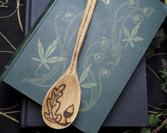 Oak Wood Spoon With Awen, Oak Leaf and Acorn - Kitchen Magic -Strength & Courage -  Wicca, Witchcraft, Pagan,pyrography