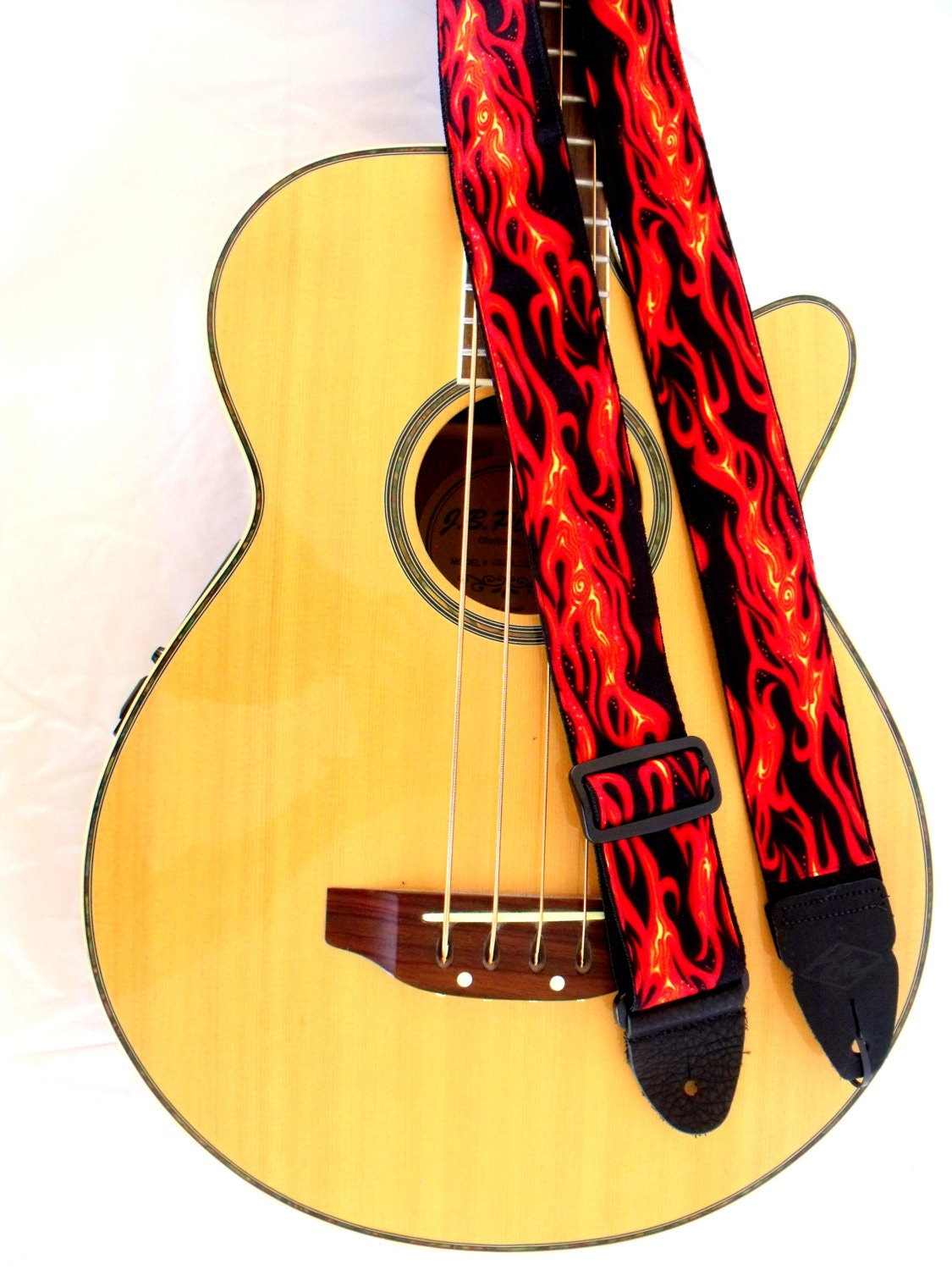 Flames Red Black Rock Guitar Strap