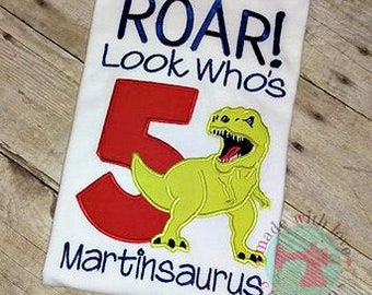 ROAR Look Who's 5 Dinosaur Birthday Shirt-Dinosaur Birthday Shirt-Dino Birthday Shirt-Dinosaur Shirt-Custom Birthday Shirt