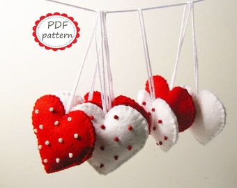 Felt heart decor pattern Polka dot Red White ornaments DIY - pdf sewing tutorial instructions handmade gift for Christmas Valentine Wedding