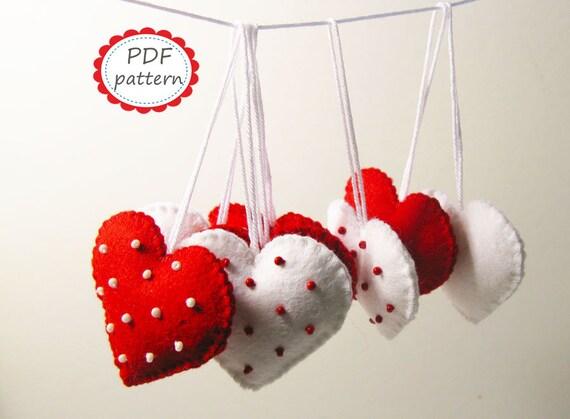 Felt heart decor pattern Polka dot Red White ornaments DIY