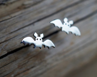 """Cute Bat Sterling silver Earrings from the """"Petite Ménagerie"""" collection by Camille Grenon - Nocturnal animal Cave Halloween"""
