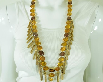 1970s Runway Kramer Huge Necklace Earrings Topaz Amber Glass Stones Openback Unfoiled Tassels 31 Inches