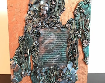 Steampunk wall hanging, octopus, mixed media, 8x10 inches, love letters from under the sea, ooak