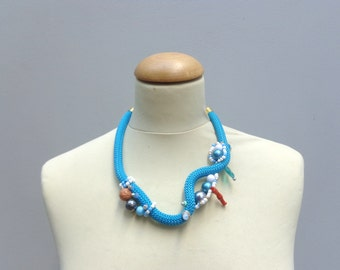 Turquoise white coral rope statement necklace