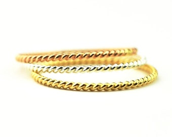 Twist Ring - Stackable Ring in Sterling silver, 14k Gold Fill or Rose Gold Fill