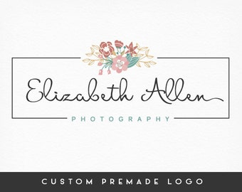 Premade Logo Design, Floral Logo, Calligraphy Logo, Handwritten Logo, Photography Logo, Sub marks + Watermarks, Branding Kit