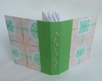 SALE + Free Shipping -- Handbound Journal with peach and green shibori cover