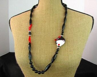 Art Deco Girl in Black & Red