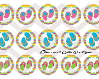"Summer Flip Flops INSTANT DOWNLOAD Bottle Cap Images 4x6 sheet 1"" circles"