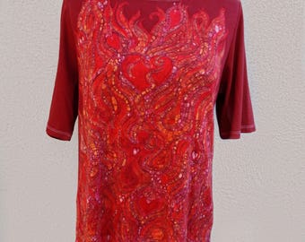 Hearts on Fire Batik Tshirt, Red Hearts Top, Boho Clothing, Wearable Art, Christmas Gift for Her, One of a Kind Top, Red Tshirt with Hearts