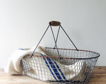 French Wire Market Basket, Farm Basket, Basket with Handle, Wire Basket