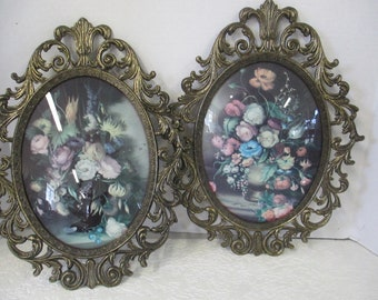 Vintage large  Italian metal framed floral prints with concave glass front metal frame used not marked