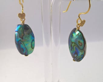 Abalone Shell earrings, Paua Shell earrings, Rose gold plated Abalone earrings, Abalone Shell, Abalone gold plated earrings, paua earrings.