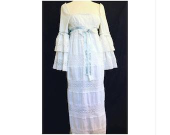 1970's Calderon bohemian vintage wedding dress