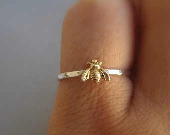 Simple tiny sterling silver bee ring, silver and gold brass stacking ring, hammered band ring, gift for women