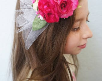 SHIP READY Floral Fascinator Hot Pink Rose Flowers Feathers Berries Tulle Veil Veiling MATILDA Hair Clip Hairpiece Wedding Bride Bridesmaid