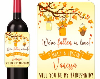 Falling In Love Wine Labels Will You Be My Bridesmaids Maid of Honor Autumn Leaves Mason Jars on Tree Branches Custom Labels Waterproof